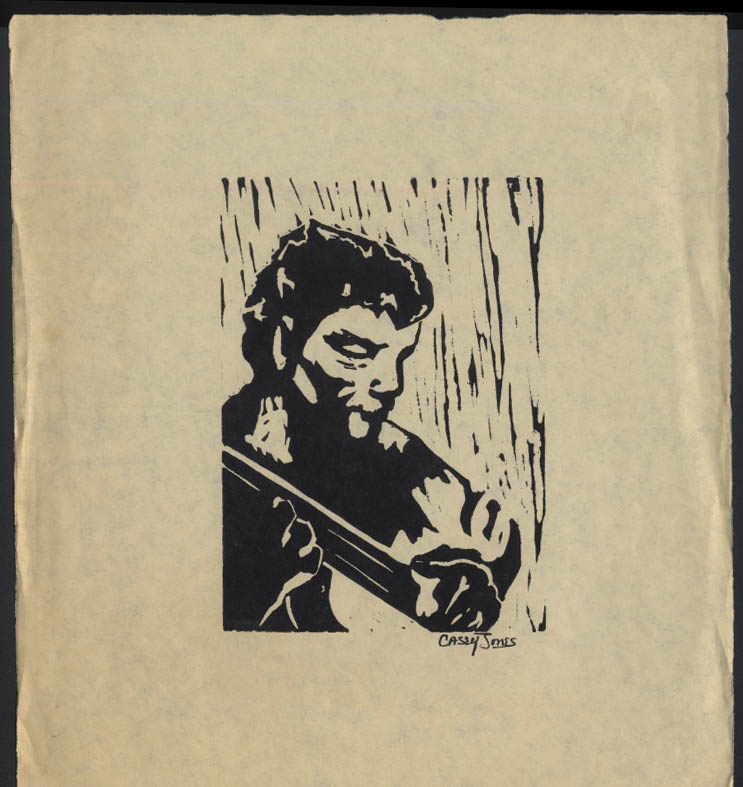 Image for Guitar player original woodcut SIGNED Casey Jones undated