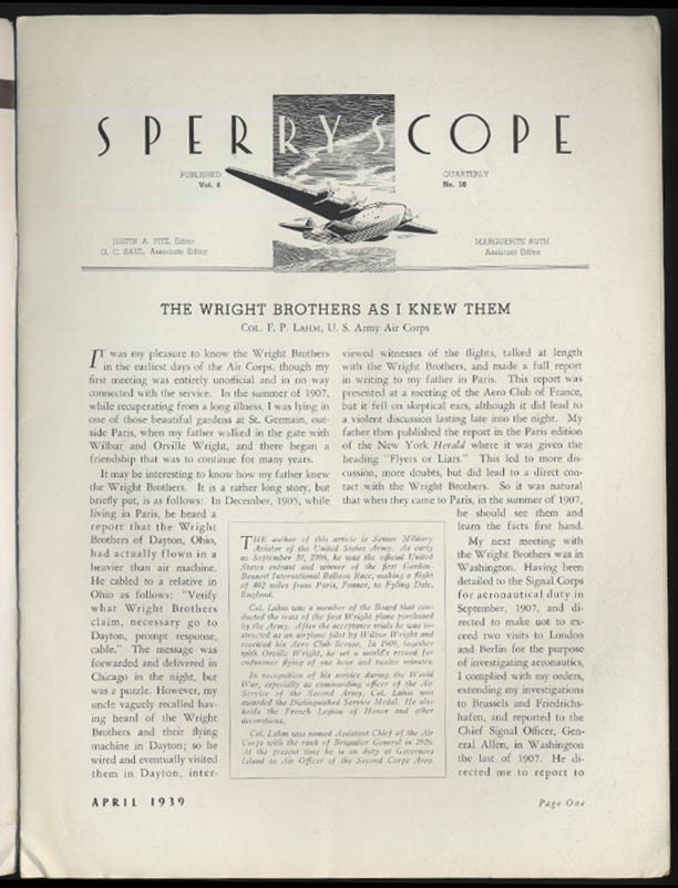 Sperry SPERRYSCOPE 4 1939 Wright Brothers Navy Tankers Trans-Canada Airline P-38
