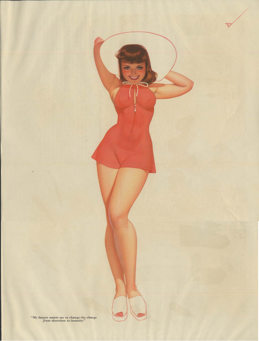 Esquire pin-up foldout Petty Girl Change from desertion to insanity red swimsuit