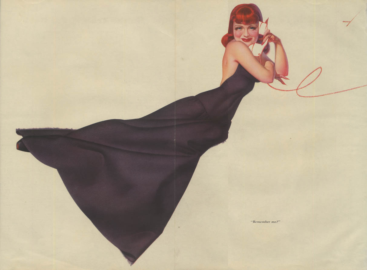 Esquire pin-up foldout Petty Girl redhead black dress on phone Remember Me?