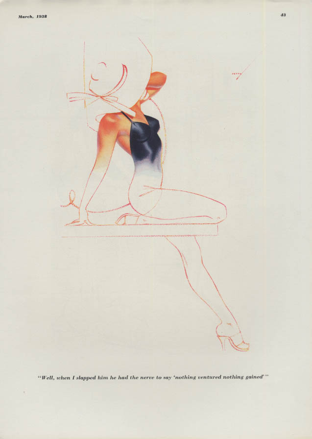 Esquire pin-up cartoon page Petty Girl When I slapped him - 3 1938