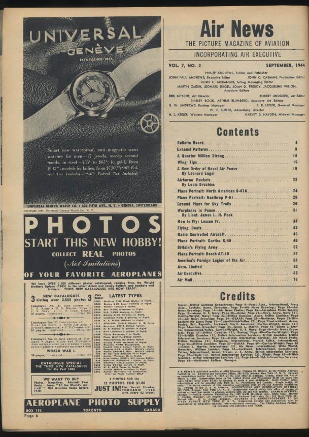 AIR NEWS 9 1944 Thunderbolt C-46; Constellation ad; flying boats; rockets