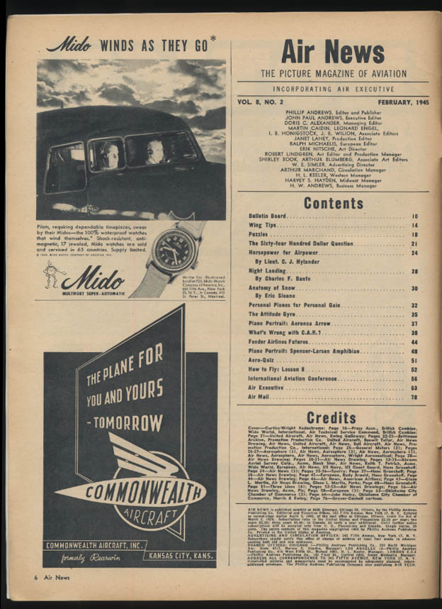 AIR NEWS 2 1945 P-40; Constellation ad; helicopters; personal planes