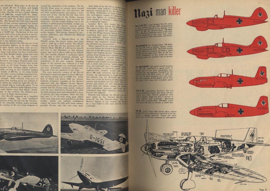 AIR NEWS 7 1944 WACS Heinkel 112 113 Cassino US Aces