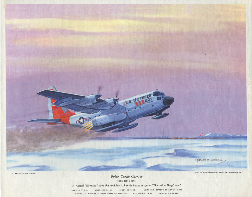 Thompson Products Hubbell Calendar Print 1964 USAF Lockheed C-130E Hercules
