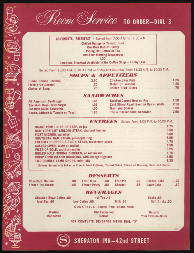 Sheraton Inn Room Service Menu card New York City 1970