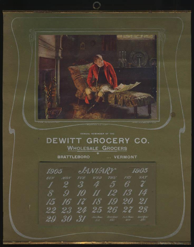 Dewitt Grocery Wholesale Grocery Brattleboro VT Calednar 1905