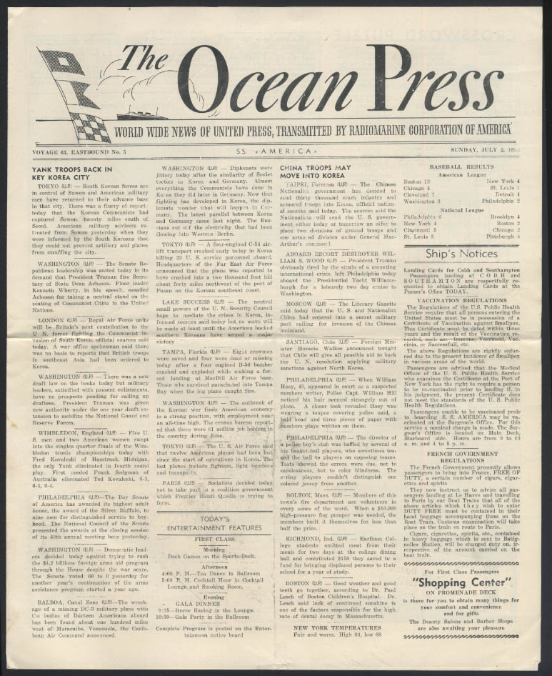 United States Lines S S America OCEAN PRESS 7/2 1950