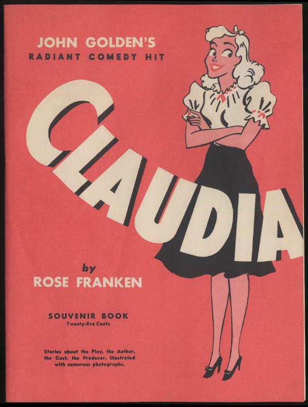 Image for Claudia theatre souvenir program Phyllis Thaxter 1940s