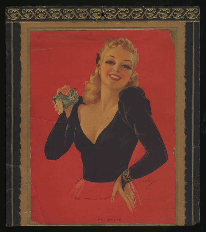 Image for J Erbit pin-up calendar topper Lovely Lady ca 1940s