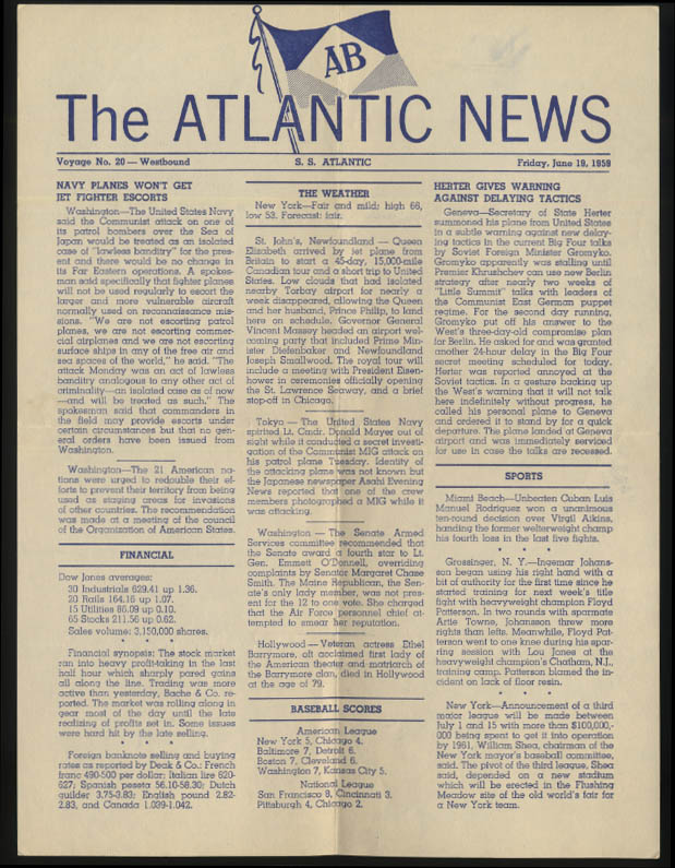 American Banner Line S S Atlantic ATLANTIC NEWS 6/19 1959 Navy in Sea of Japan