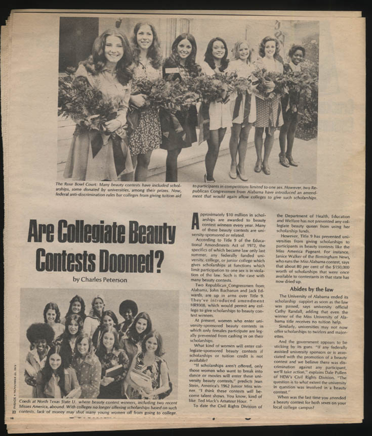 PARADE 11/23 1975 James A Farley Alf Landon; College Beauty Contests