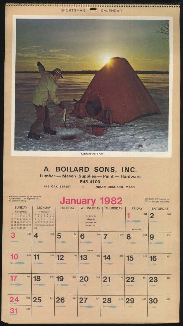 A Boilard Sons Lumber Hardware advertising calendar Indian Orchard MA 1982