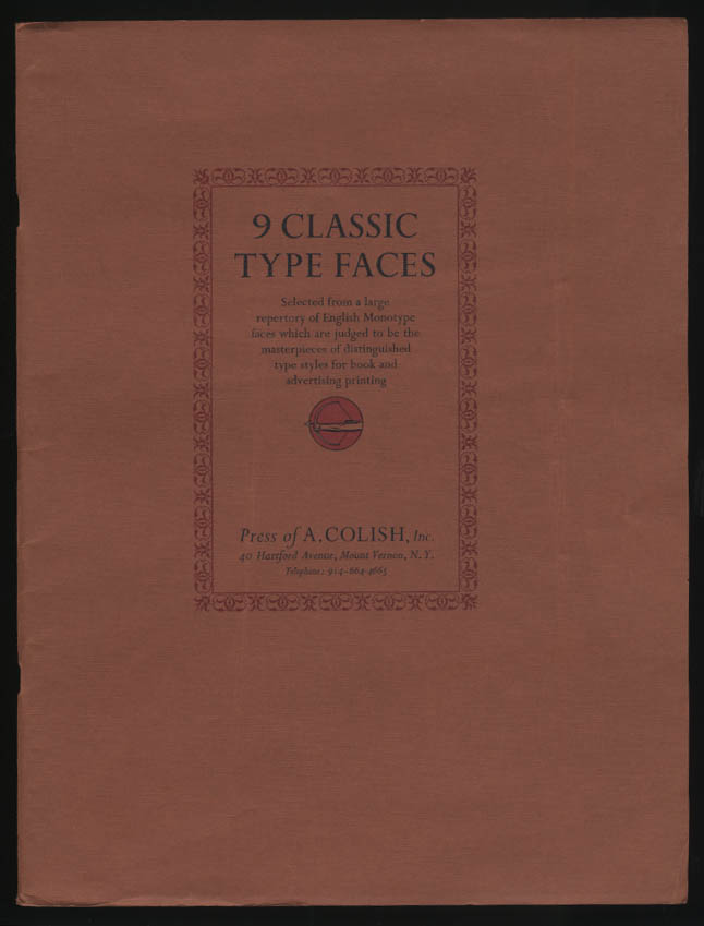 Press of A Colish 9 Classic Type Faces typographic sample book 1930s