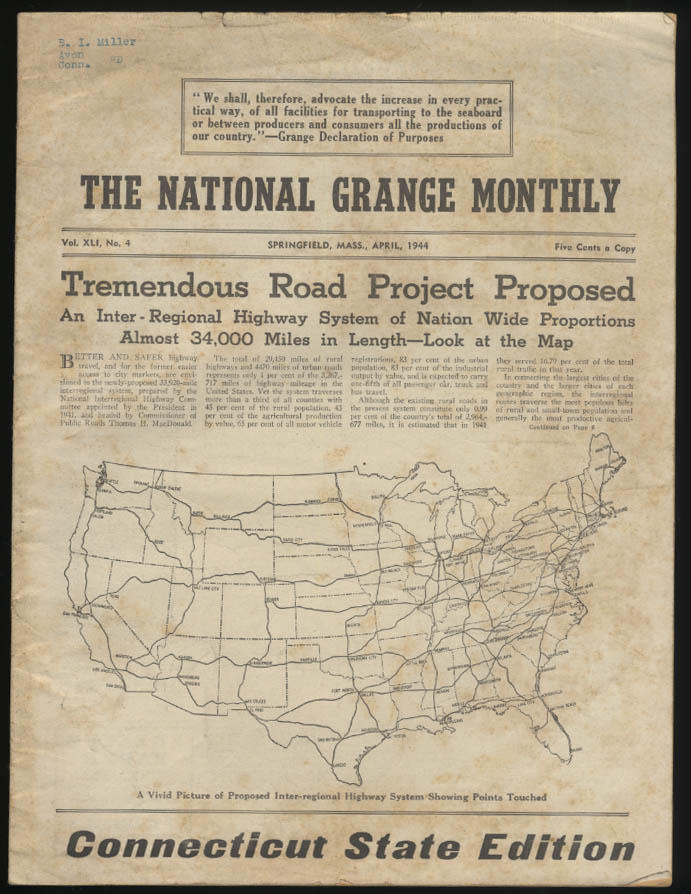 NATIONAL GRANGE MONTHLY 4 1944 National Highway Interstate Plan; War News