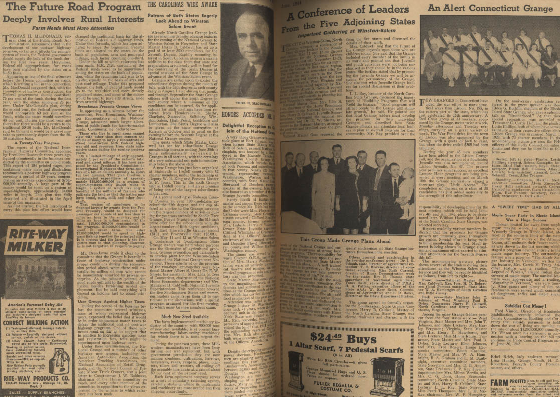 NATIONAL GRANGE MONTHLY 6 1944 Florida Monument; Home Front News