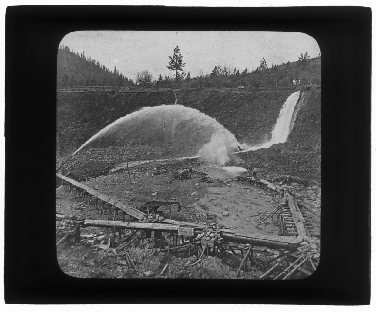 Keystone Lantern Slide View Hydraulic mining of gold in Oregon