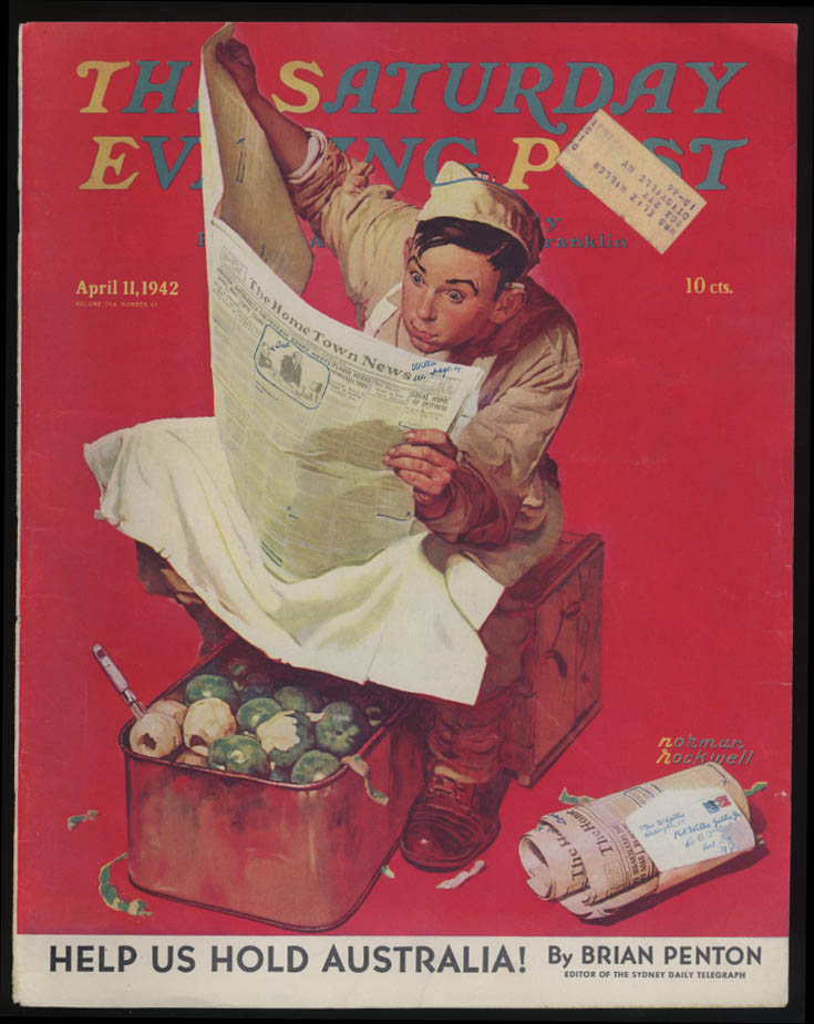 SATURDAY EVENING POST Norman Rockwell COVER ONLY 4/11 1942 KP GI hometown news