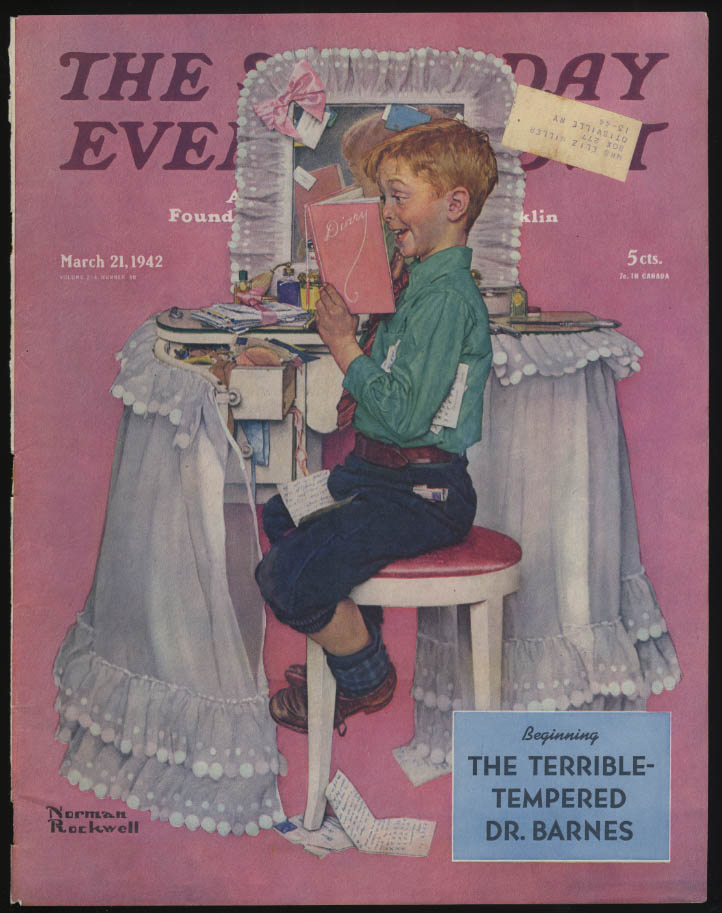 SATURDAY EVENING POST Norman Rockwell COVER ONLY 3/21 1942 reading sis's diary