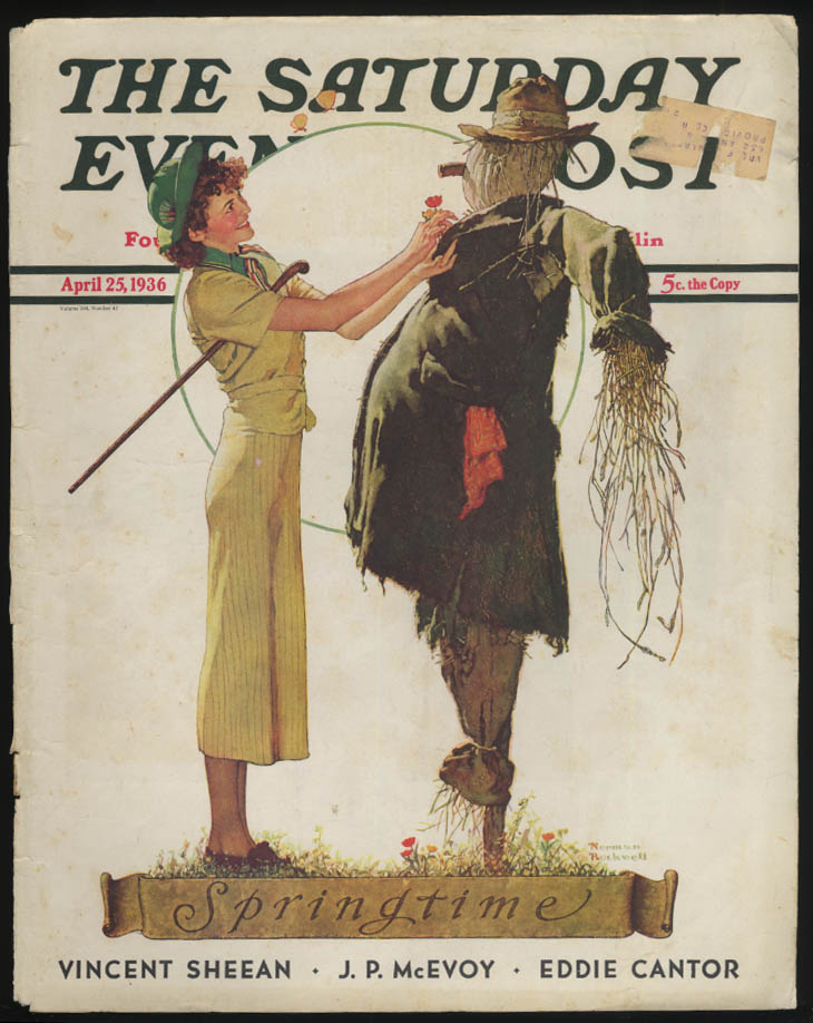 SATURDAY EVENING POST Norman Rockwell COVER ONLY 4/25 1936 springtime scarecrow