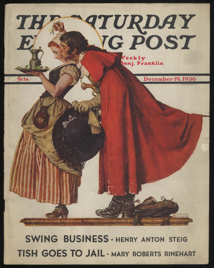 SATURDAY EVENING POST Norman Rockwell COVER ONLY 12/19 1936 costumes & mistletoe