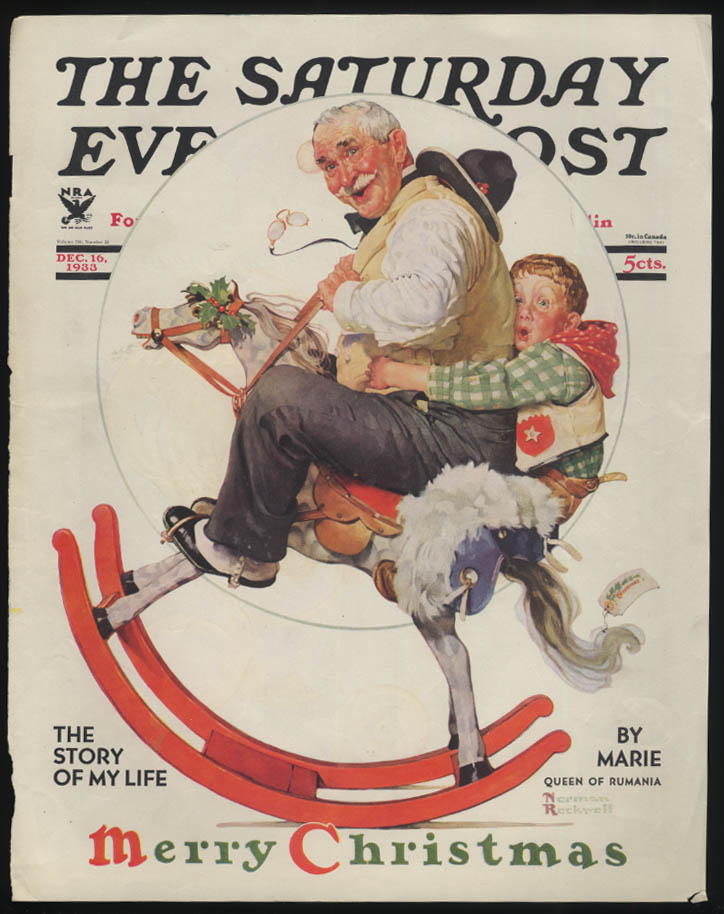 SATURDAY EVENING POST Norman Rockwell COVER ONLY 12/16 1933 gramps rockinghorse