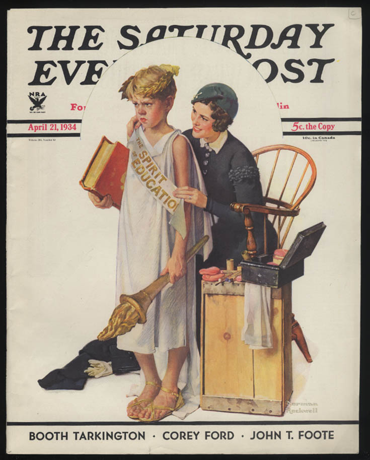SATURDAY EVENING POST Norman Rockwell COVER ONLY 4/21 1934 school pageant