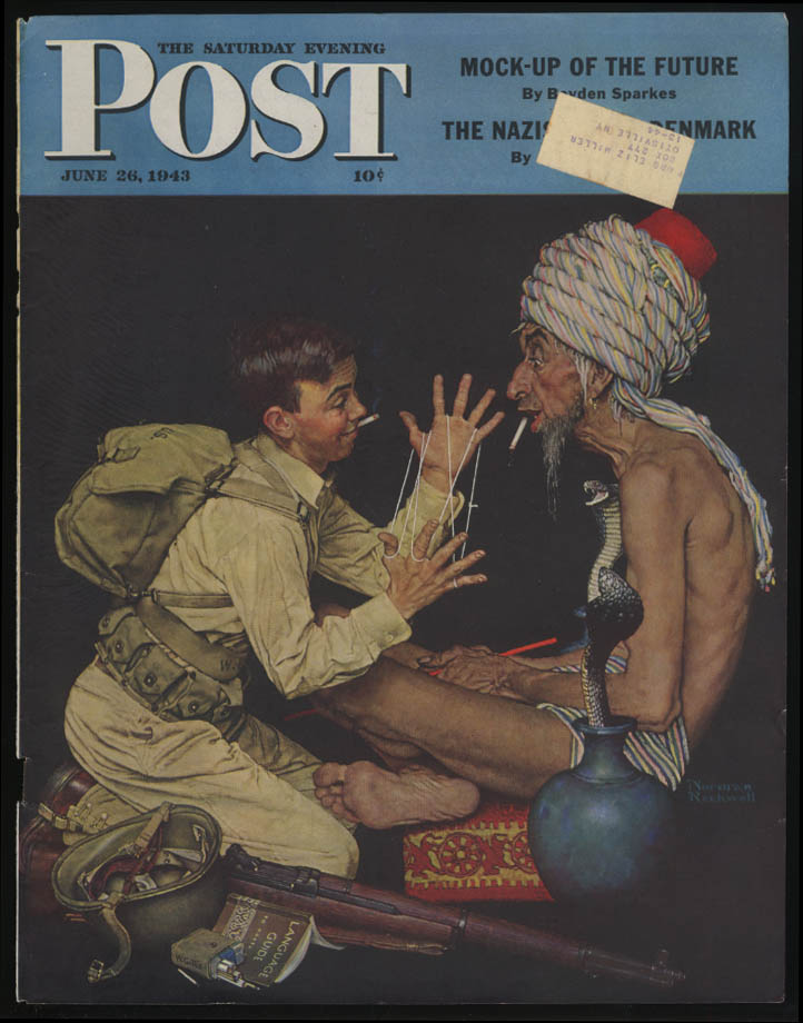 SATURDAY EVENING POST Norman Rockwell COVER ONLY 6/26 1943 cats's cradle cobra