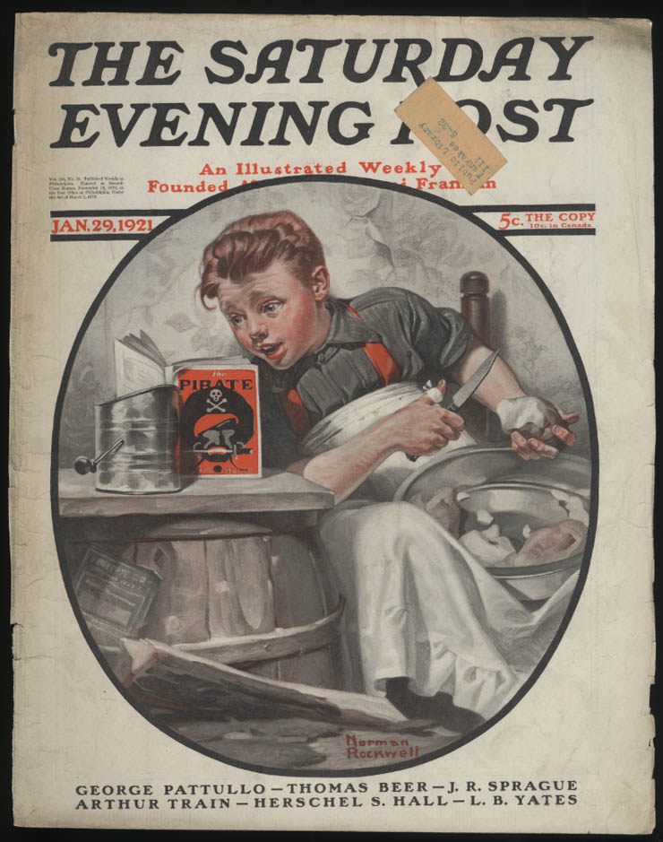 SATURDAY EVENING POST Norman Rockwell COVER ONLY 1/29 1921 peeling potatoes