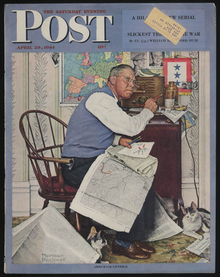 SATURDAY EVENING POST Norman Rockwell COVER ONLY 4/29 1944 armchair general