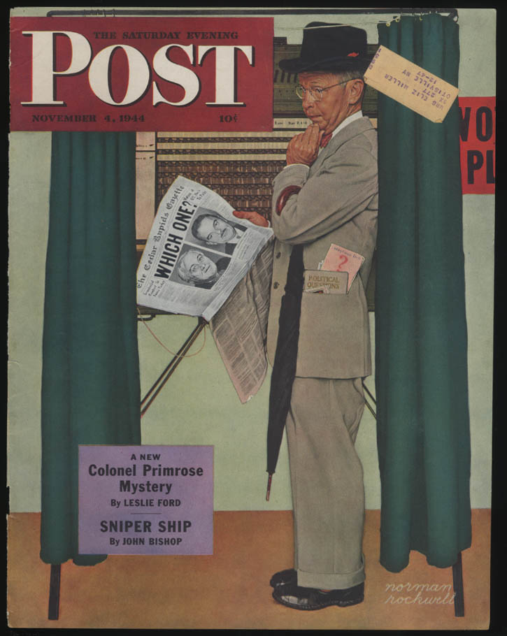 SATURDAY EVENING POST Norman Rockwell COVER ONLY 11/4 1944 FDR or Dewey?