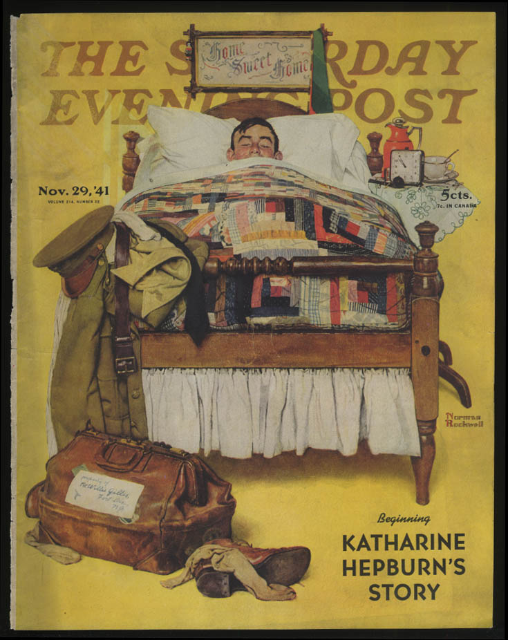 SATURDAY EVENING POST Norman Rockwell COVER ONLY 11/29 1941 GI in his own bed