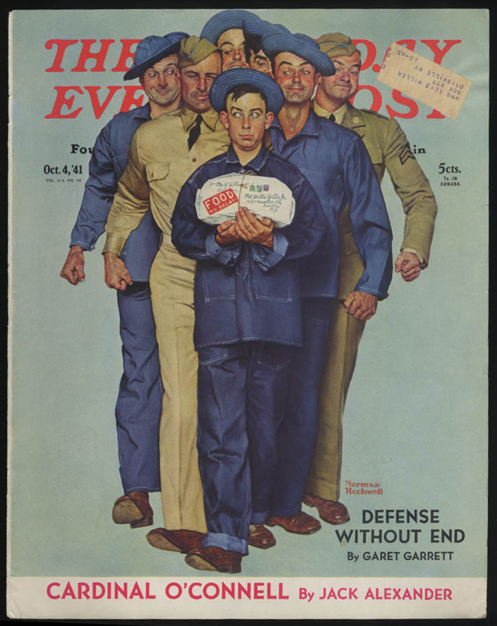 SATURDAY EVENING POST Norman Rockwell COVER ONLY 10/4 1941 GI food from home
