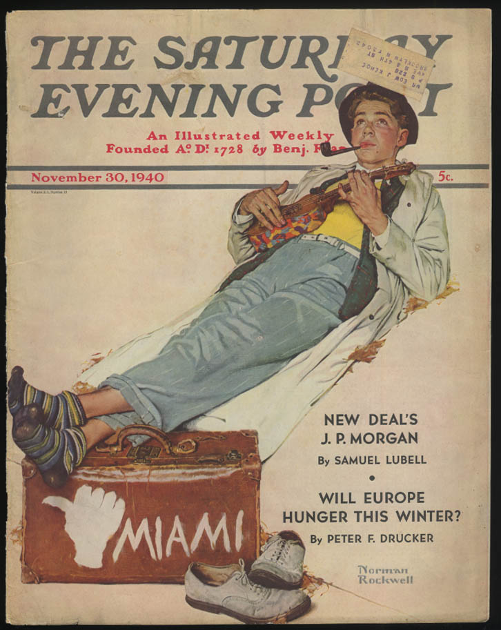 SATURDAY EVENING POST Norman Rockwell COVER ONLY 11/30 1940 ukulele hitchhiker