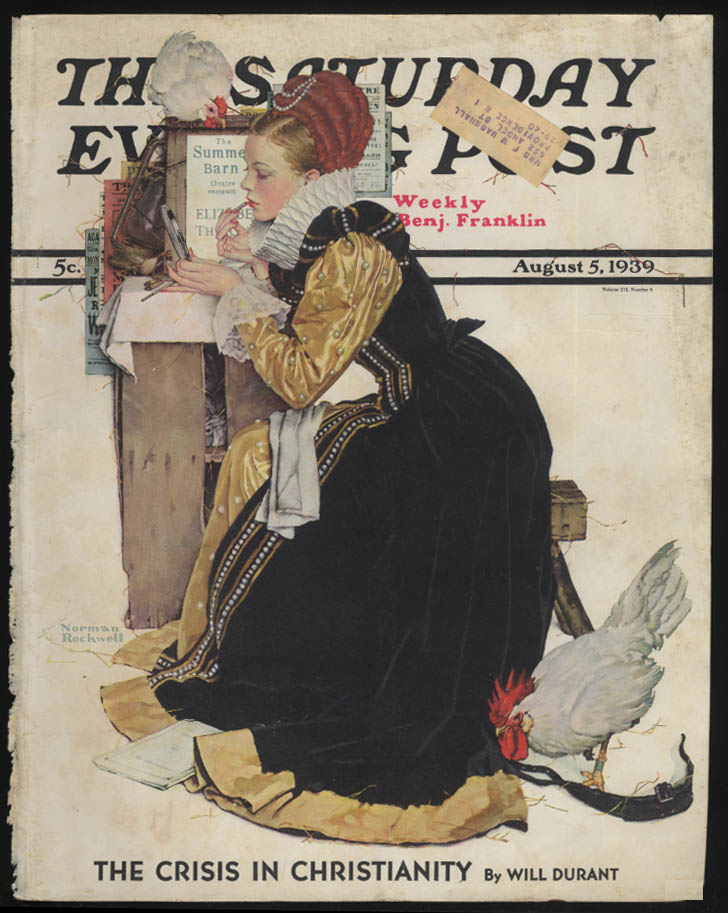 SATURDAY EVENING POST Norman Rockwell COVER ONLY 8/5 1939 summer stock queen