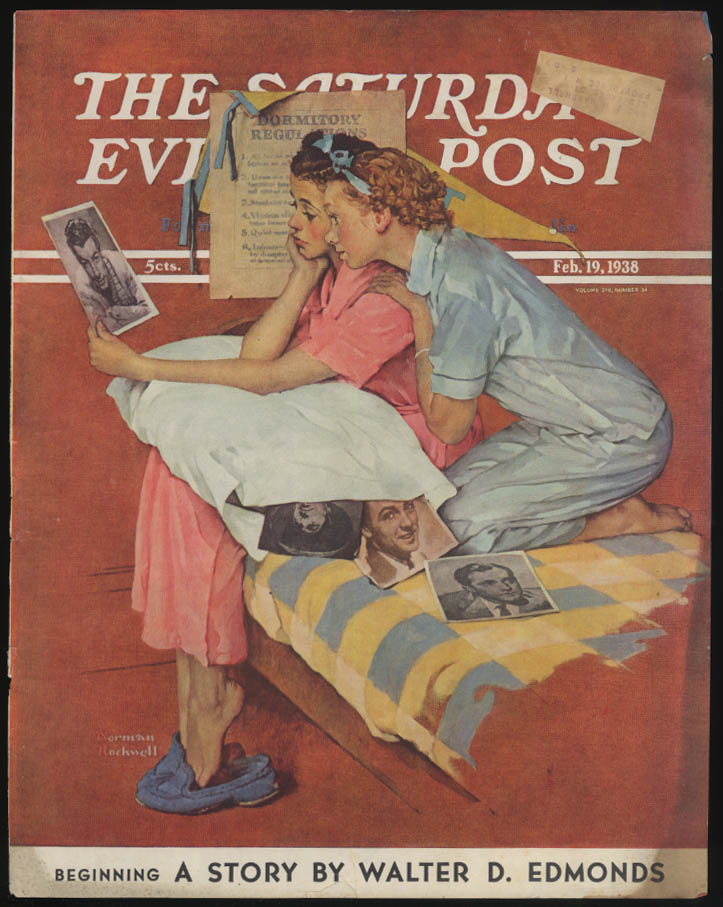 SATURDAY EVENING POST Norman Rockwell COVER ONLY 2/19 1938 dorm girls swoon