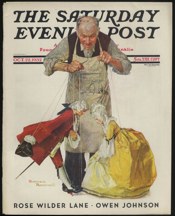 SATURDAY EVENING POST Norman Rockwell COVER ONLY 10/22 1932 master puppeteer