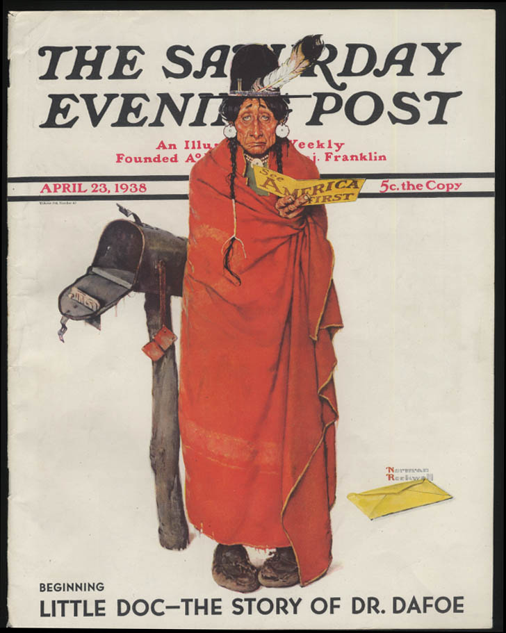 SATURDAY EVENING POST Norman Rockwell COVER ONLY 4/23 1938 sad Indian at mailbox