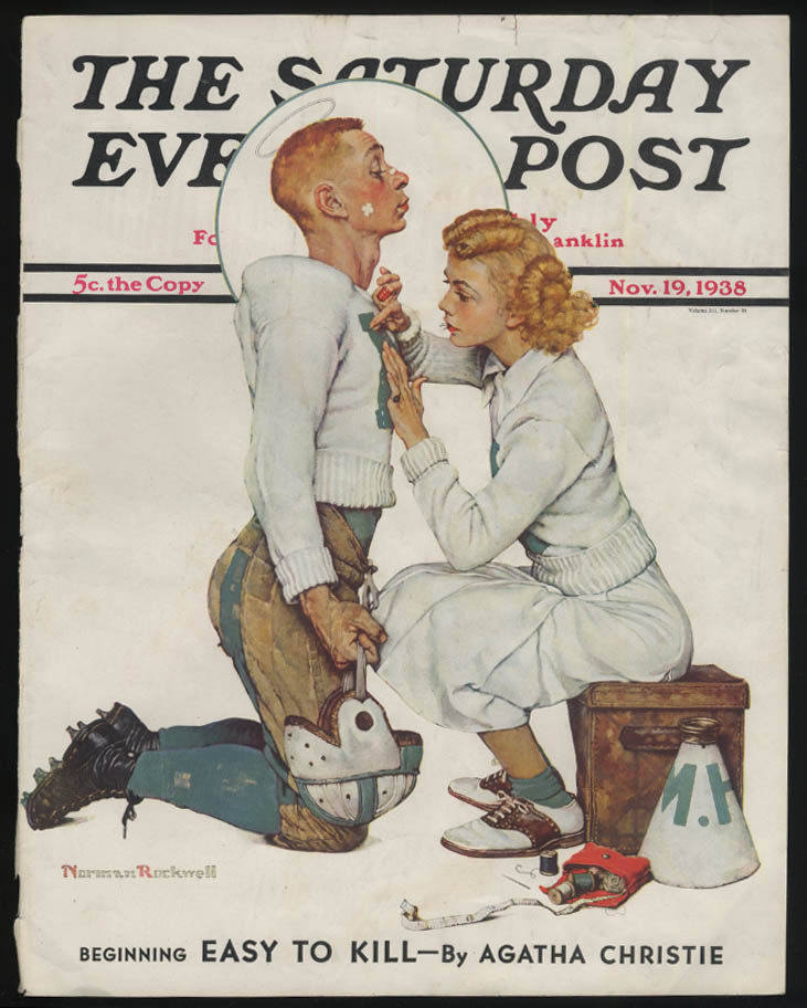SATURDAY EVENING POST Norman Rockwell COVER ONLY 11/19 1938 football letter