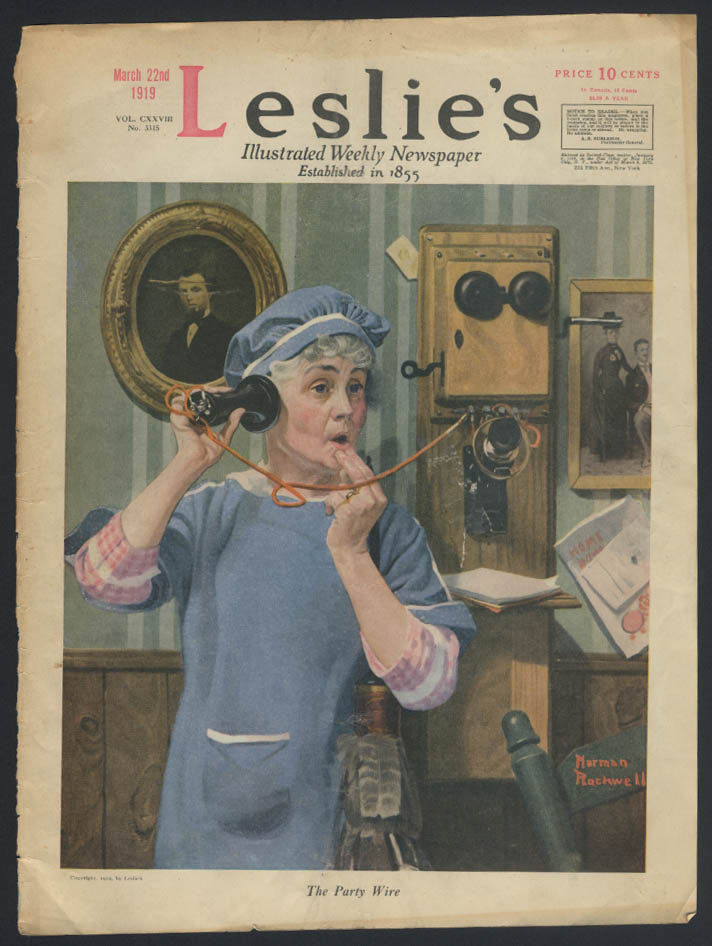 LESLIE's Norman Rockwell COVER ONLY 3/22 1919 call on wall telephone