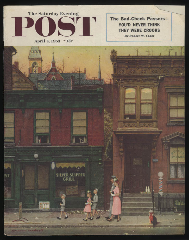 SATURDAY EVENING POST Norman Rockwell COVER ONLY 4/4 1953 to church past a bar