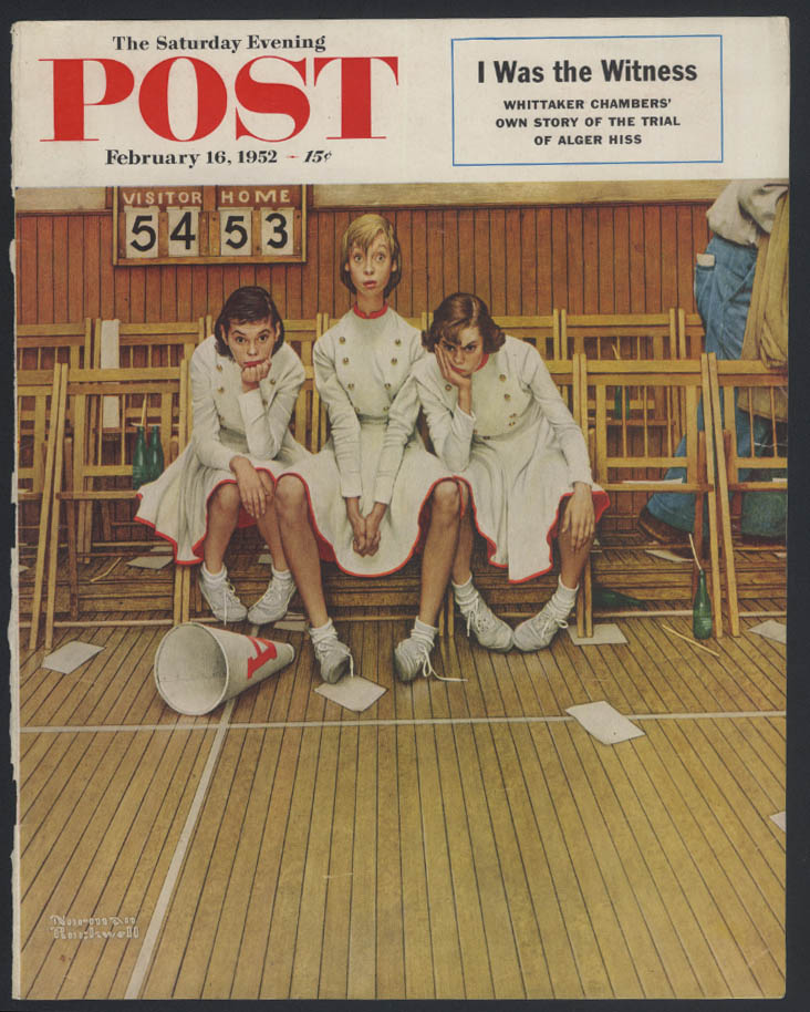SATURDAY EVENING POST Norman Rockwell COVER ONLY 2/16 1952 cheerleaders lose
