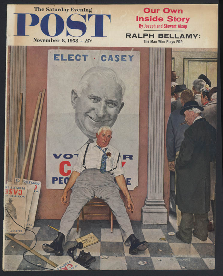 SATURDAY EVENING POST Norman Rockwell COVER ONLY 11/8 1958 exhausted candidate