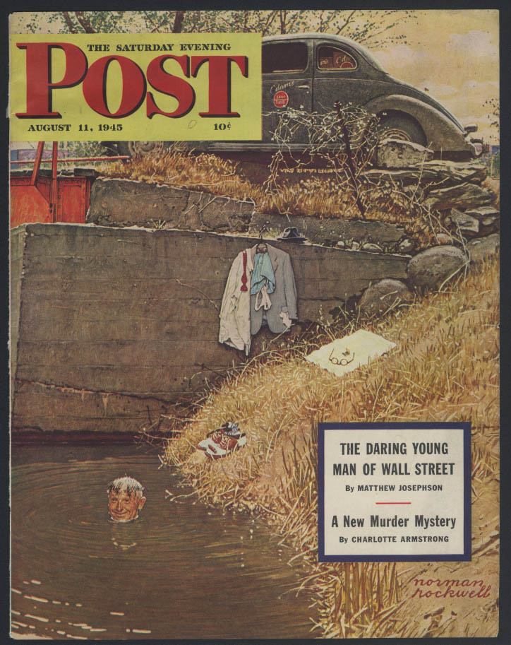 SATURDAY EVENING POST Norman Rockwell COVER ONLY 8/11 1945 salesman takes a dip