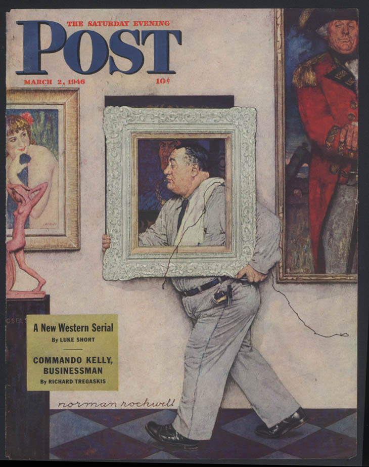 SATURDAY EVENING POST Norman Rockwell COVER ONLY 3/2 1946 art museum move