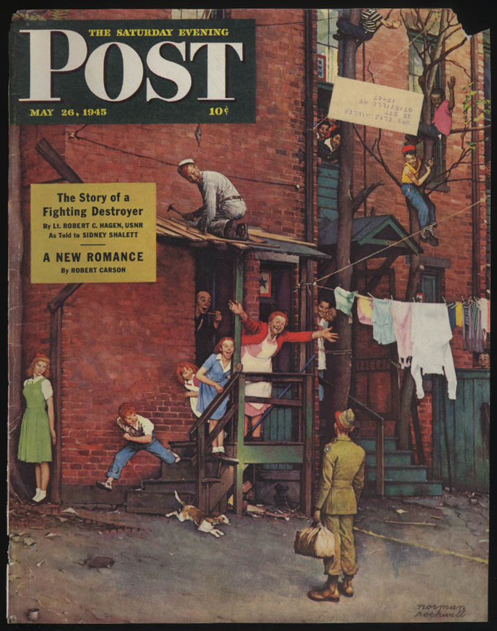 SATURDAY EVENING POST Norman Rockwell COVER ONLY 5/26 1945 GI welcome home