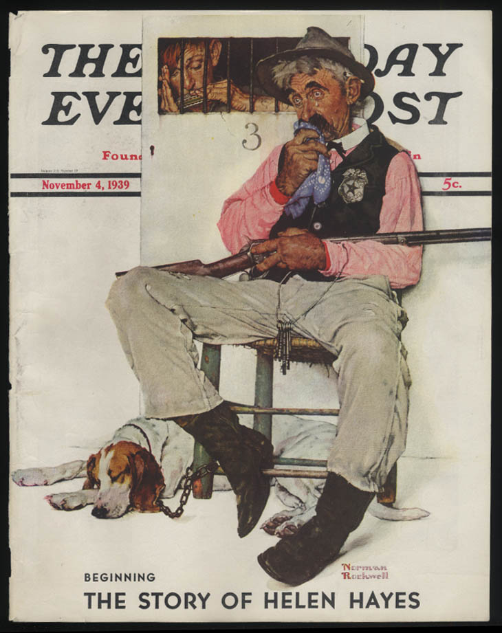 SATURDAY EVENING POST Norman Rockwell COVER ONLY 11/4 1939 weeping jailer