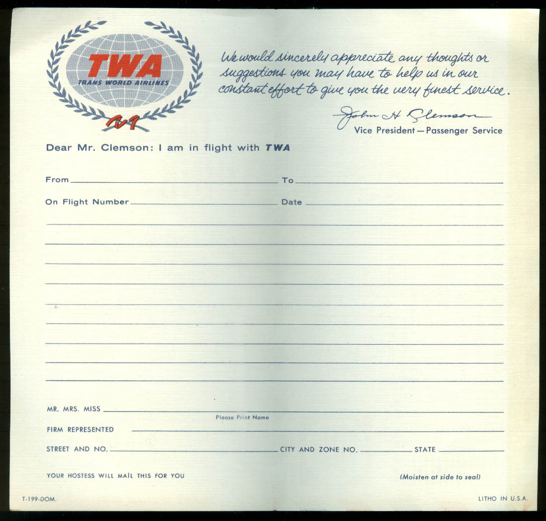 TWA Trans World Airlines airline Passenger Commentary mailer ca 1950s