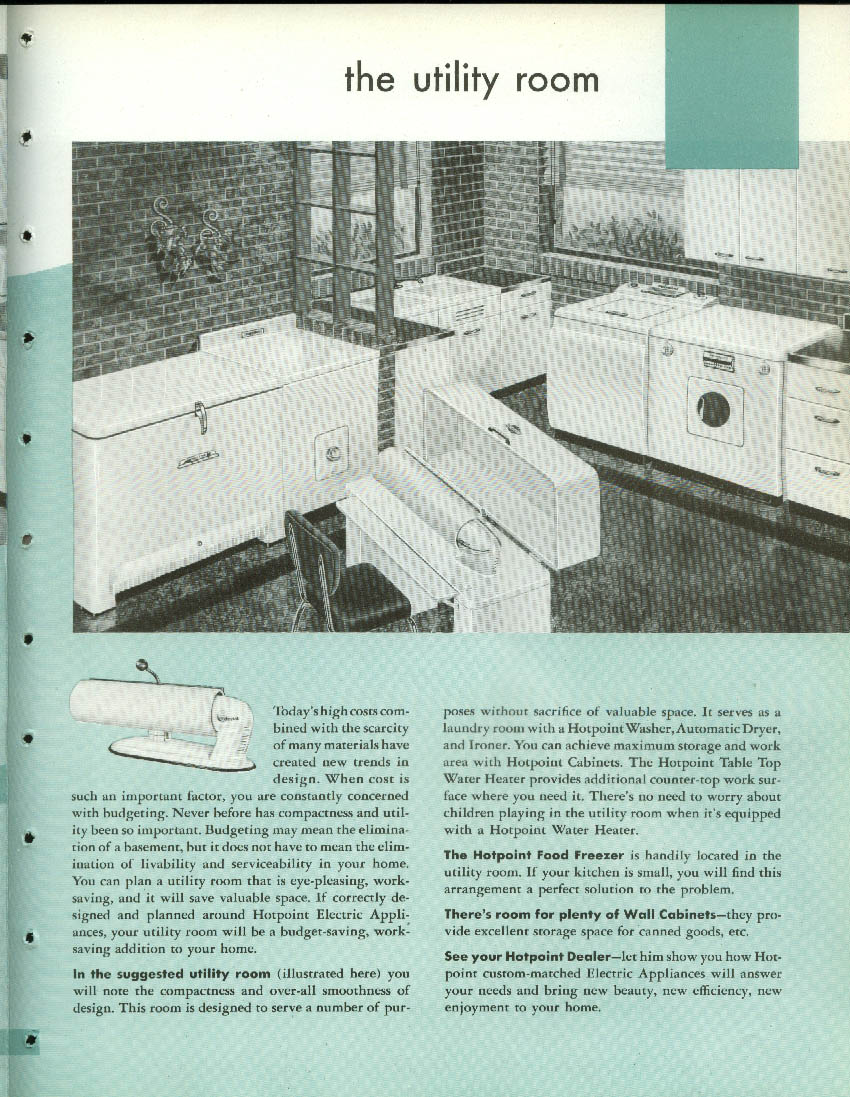 Hotpoint All Electric Kitchen Laundry Work Saving Centers brochure 1950