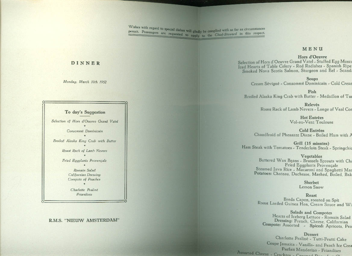 Holland america line r m s nieuw amsterdam dinner menu 3101952 publicscrutiny Image collections